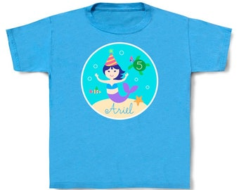 Personalized Kids Mermaid Birthday Cotton T-shirt in Toddler and Youth Sizes, Mermaid girls birthday shirt, ocean toddler shirt w/ kids name