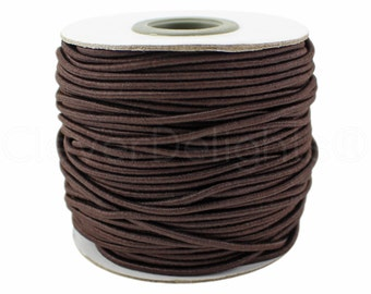 10 Yds - Brown Elastic Cord - 2mm - Premium Elastic Stretch Cording - For Beading, Jewelry, Crafts, Necklaces - 10 Yards