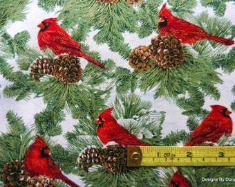 One Yard Cut Quilt Fabric, Christmas/Winter, Red Cardinals, Evergreens, Pine Cones on White Background, Sewing-Quilting-Craft Supplies