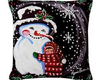 Snowman Hug Folk Art Pillow - Woven Throw Pillow Whimsical Art by Renie Britenbucher
