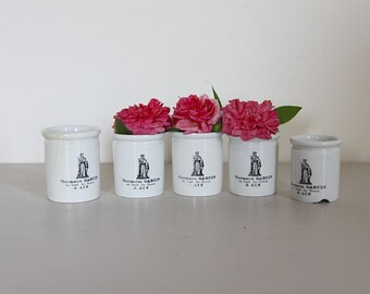 French Antique Apothecary Jars, Apothecary Pots, Porcelain, Aix En Provence in Black and White Sarreguemines, Set of 5