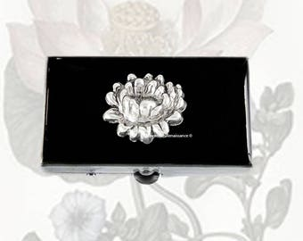 Lotus Flower Metal Pill Box Inlaid in Hand Painted Enamel Zen Inspired Pill Case with Personalized and Color Options