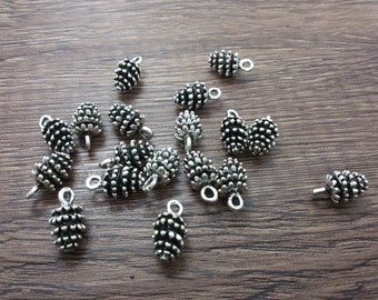 20  Pcs  PineCone Charms , Pine Cone Pendants , Woodland Charms , Winter Charms , Forest Charms , Autumn Charms , Winter Bridesmaids