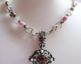 Austro-Hungarian garnet pin pendant   hand made pearl garnet sterling necklace   antique pendant pin   Victorian jewelry   1900   European