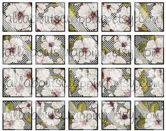 "1"" Squares Digital Collage Sheet - Printable Shabby Chic Flowers For For Tags Pendants Magnets Jewelry Cardmaking Stickers 0024"