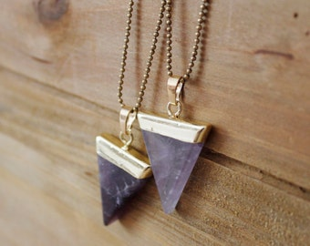 Amethyst Triangle Pendant Necklace/ Purple Amethyst Gemstone Necklace/ Triangle Geometric Pendant Necklace/ Summer Fashion (NTG10-AM)