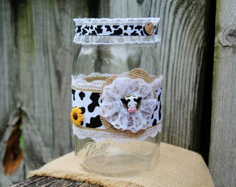 Cow Mason Jar, Cow Décor, Cow Jar, Dairy Cow Mason Jar, Dairy Cow Decor, Holstein Mason Jar, Dairy Cow Gift, Holstein Cow Gift, Rustic Cow