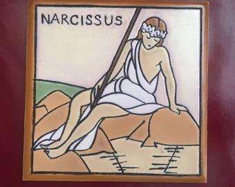 """Vintage tile showing a femme fatale """"Narcissis"""""""