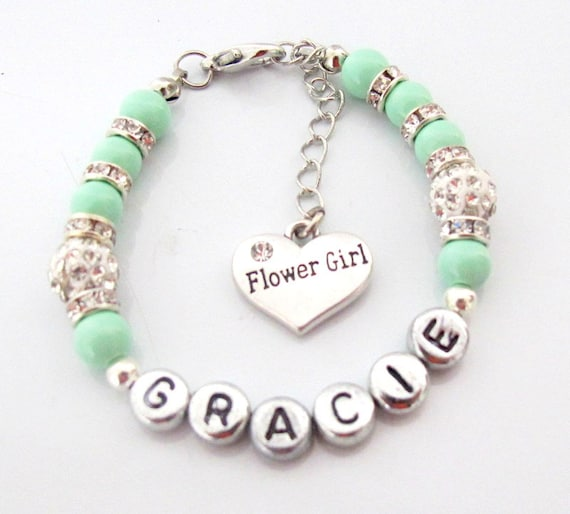 Mint Green Flower Girl Bracelet,Mint green Jewelry,Wedding Party Gift, Bridesmaid Gift,Matron of Honor,Mother in law gift, Free Shipping USA