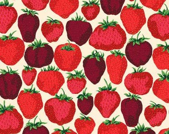 Strawberry fabric, red , strawberries on a cream background by Free Spirit Free Domestic Ship over 50