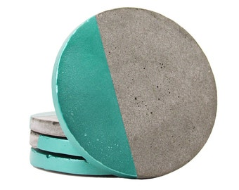 Concrete Coasters, Modern Coasters, Drink Coasters, Cement Coasters, Geometric Coasters, Stone Coasters, Unique Coasters, Blue - Set of 4