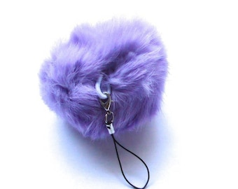 Purple Teddy with elastic loop and link size 80mm ball