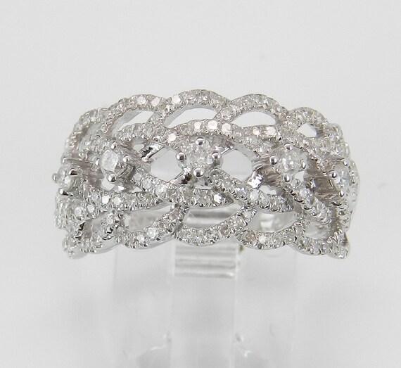 Diamond Ring Anniversary Ring .75 ct Wedding Band 14K White Gold Ring Size 7