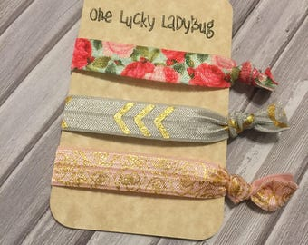 Coming Up Roses Hair Tie Trio