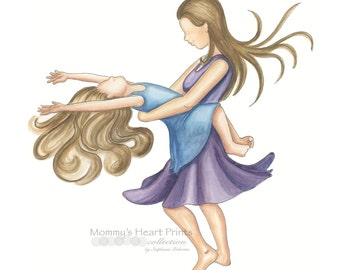 Mother's Day Gift, Twirling with Mommy - Mother daughter- motherhood art- mother daughter dancing-