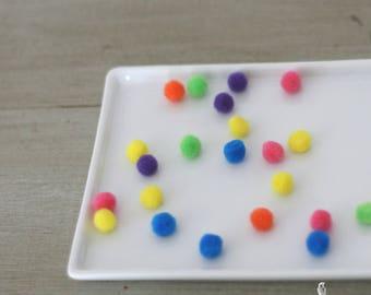 100 Muticolor Small Craft Acrylic Pom Poms 10 mm -Bold color/DIY Crafts/Multi Color