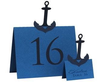 Anchor Table Numbers - wedding, shower, beach, destination wedding, navy blue, red, royal blue, white, laser cut, sea, ocean
