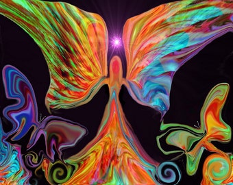 Angel Art, Reiki Butterflies, Energy Art Print Psychedelic Wall Art
