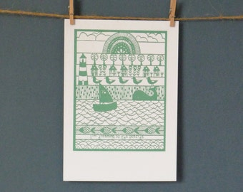 HALF PRICE Greeting Card taken from 'I'm Dreaming Of The Seaside' paper cut by Loula Belle At Home
