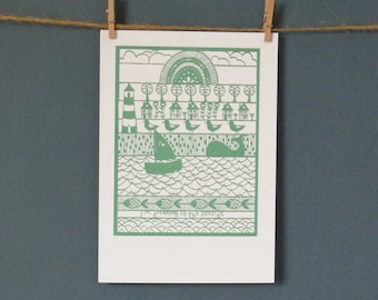 """HALBEN Preis Grußkarte """"I 'm Dreaming von The Seaside"""" Papier Schneiden von Loula Belle zu Hause entnommen"""