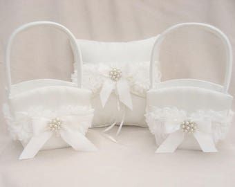 Ring Bearer Pillow and Flower Girl Basket Set Shabby Chic Vintage Ivory and Cream Custom Colors too