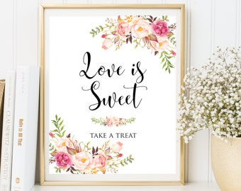 Love is Sweet, Love is Sweet Take a Treat Sign, Love is Sweet Download, Love is Sweet Wedding Sign, Printable Love is Sweet Sign, Sweet love