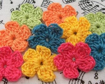 Crochet Bright Color Flower Appliques