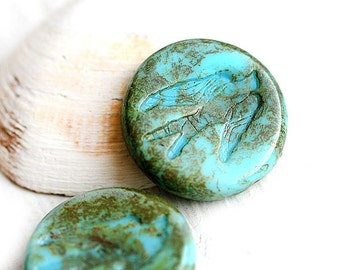 Turquoise Blue Bird czech glass beads, Swallow Picasso beads, Blue large round tablet shape rustic - 23mm - 2Pc - 1324