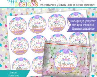 Unicorn Poop Labels - Unicorn Birthday Party - Unicorn Poop Tags - Unicorn Poop Stickers 2.5 Inches