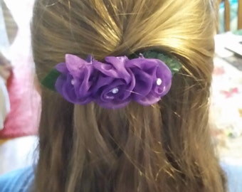 Purple Rose Floral Hair Barrette- Valentine's Day Barrette- Any Occasion