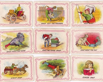 Set of 19 Antique SNAP playing cards for collage mixed media and more
