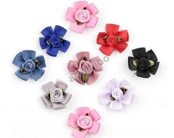 Satin Ribbon Rose Flower for Diy Crafting, Hair Accessories