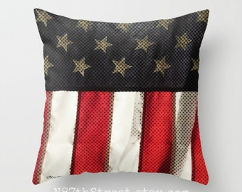 "USA 16x16"" Pillow Cover. Photo Art, TMCdesigns. Patriotic. Stars & Stripes. American Flag. Freedom. Home Decor. July 4th. Red White Blue Tan"