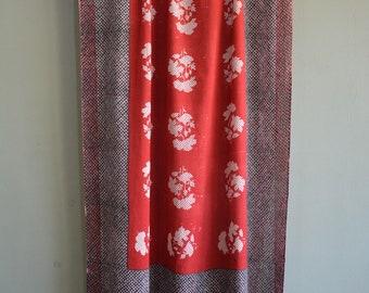 Hand-spun and hand woven Khadi scarf with hand block print , khadi cotton scarf  , printed scarf , vintage hand blocks .