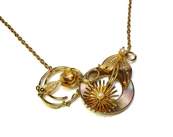 Repurposed Jewelry, Flower Statement Necklace, Gold Flower Necklace, Gift For Her, Handmade Artisan Upcycled , Repurposed Vintage, Reclaimed