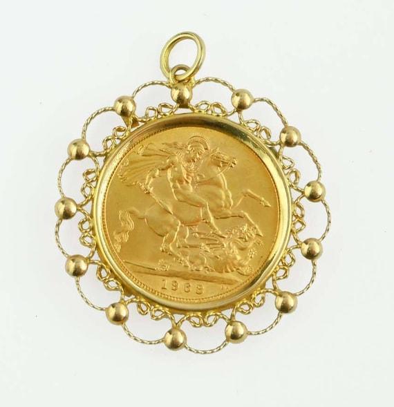 Queen elizabeth ii in profile 1963 british gold sovereign open queen elizabeth ii in profile 1963 british gold sovereign open work 14kt gold bezel pendant aloadofball Images