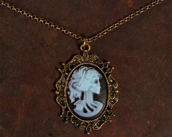 Victorian Beauty Skull Necklace, Cameo Necklace, Skeleton Head, Woman Skeleton, Blue and Black w/Antique Bronze Frame, Zombie Chick Cameo