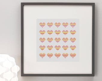 Little Hearts Sunset Lines Cross Stitch Pattern Modern Pretty