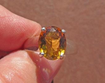 Citrine Ring - Natural Citrine & Sterling Silver Ring - Size 7 1/4 - November Birthstone Ring