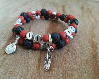 "Bracelet memo / breastfeeding/bottle/medication... ""Volcania"" 3 in 1 in gemstones (lava & Jasper), with Pocket, Ti Memento"