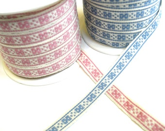 "1 m Woven Ribbon ""Check of Sweden"" 10 mm w 100 % cotton from Sweden"