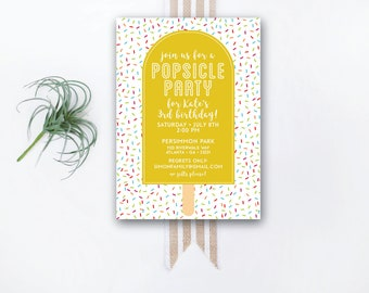 INSTANT DOWNLOAD birthday invitation / popsicle party invite / popsicle birthday party / confetti invite / sprinkles invite / rainbow invite