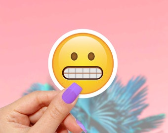 Emoji Grin Sticker,  Cute Stickers, Funny Stickers, Colorful Stickers, Laptop Sticker
