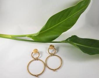 Double Hoop Circle Earrings // Brass Statement Hoops