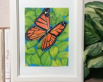 butterfly, flowers, digital print, digital art, wall art, monarch butterfly print, flower poster, printable art, nature art