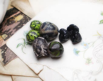 Polymer Clay Beads - 8 Rustic Dark Mix - Green Millefiori Nuggets - Black Flower Pods - Chunky Set - Midnight Garden no. 5 - Floral Flowers