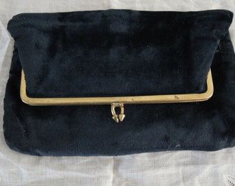 1940's Navy Blue Velvet Clutch Bag