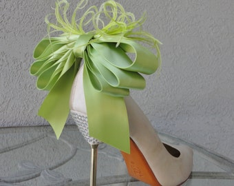 Bridal Party Wedding Light Green Bow And Feather Shoe Clips Set Of Two