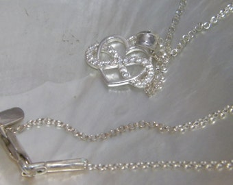 """Love Infinity Heart .925 Sterling Silver Pendant Necklace With 18.5 """"Rolo Chain"""
