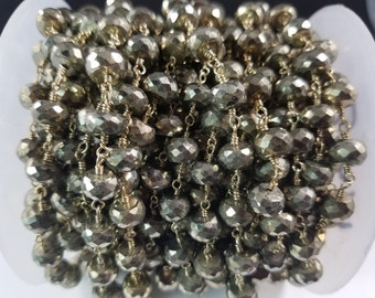 CLEARANCE SALE!  8mm Natural Pyrite, Brass w/Gold Rosary Chain